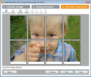 Prints you large images in multipage mode