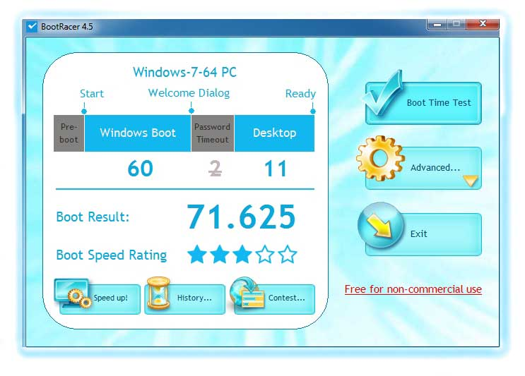 BootRacer Tests How Fast is your PC! It calculates Windows boot time automatically and easily.